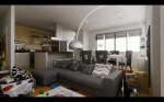 Contemporary-Living-room-gray-tones-studio-apartment