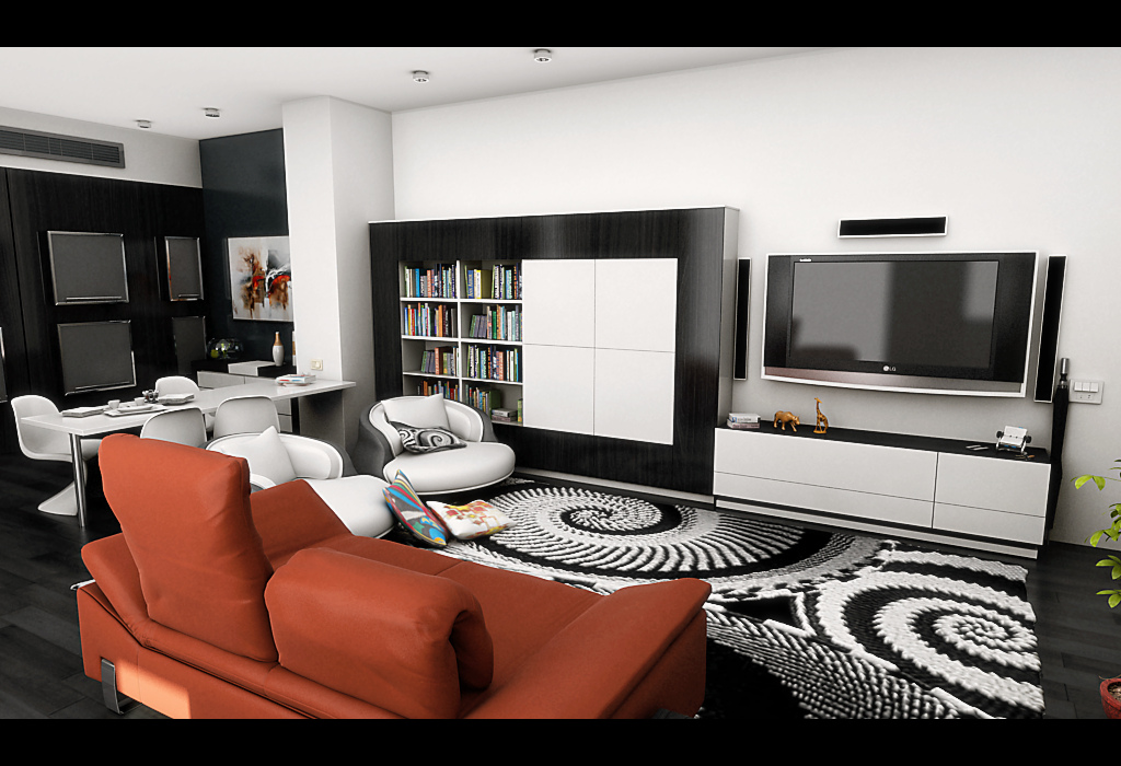 Home Designing Images U2013 Living Room » Modern Living Room Bold Area Rug  Orange Sofa